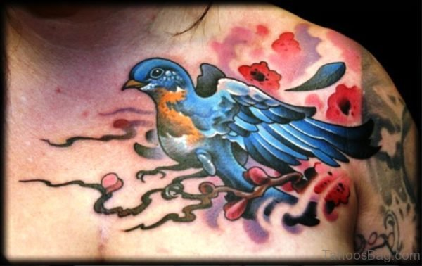 Fantastic Blue Bird Tattoo On Chest