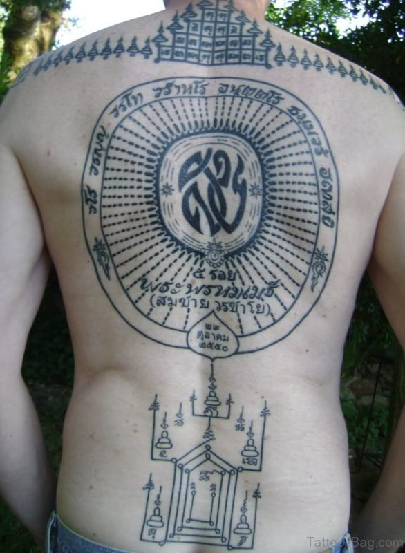 Fantastic Buddhist Tattoo On Back Body
