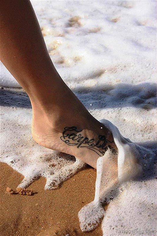 Fantastic Carpe Diem Tattoo On Foot