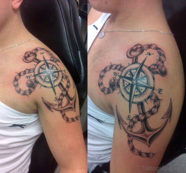 Fantastic Compass Tattoo Design On Shoulder