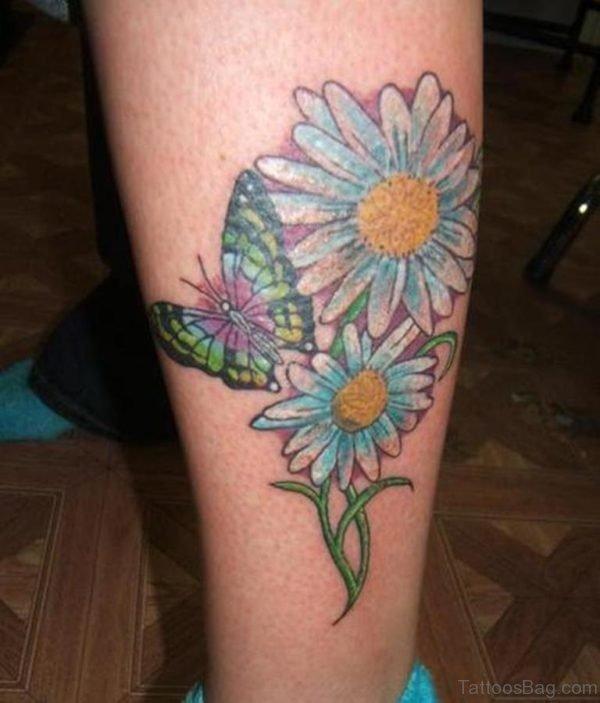 Fantastic Daisy Tattoo On Leg