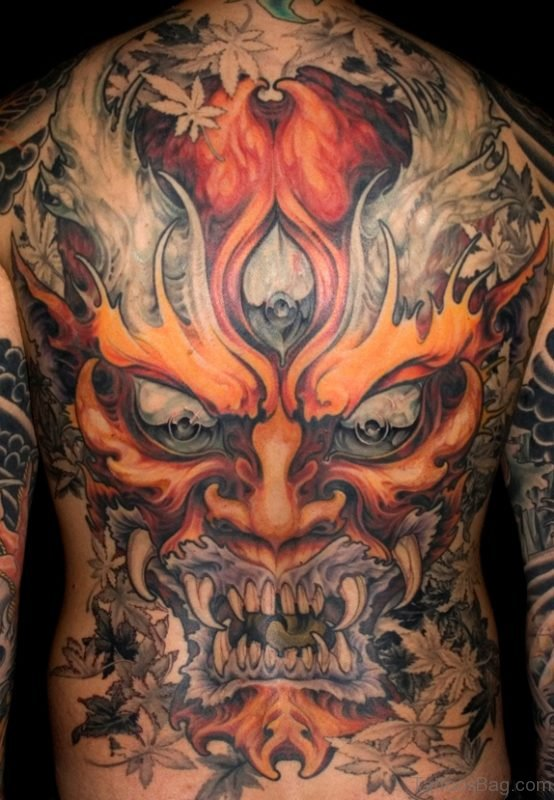 Devil Tattoo Design On Back Body