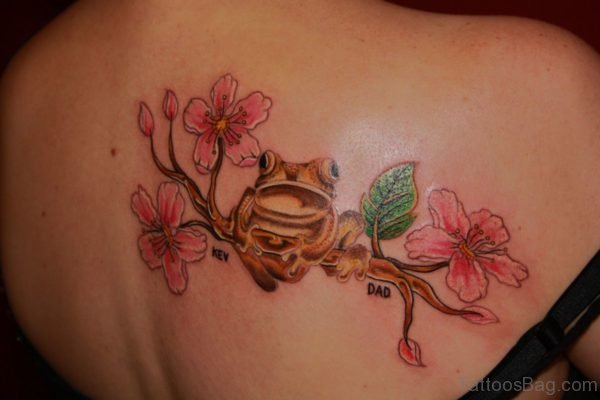 Fantastic Frog And Cherry Blossom Tattoo On Back