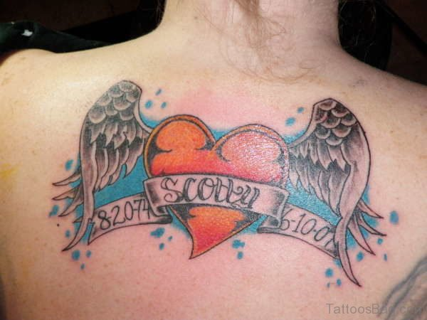 Fantastic Heart Tattoo On Back