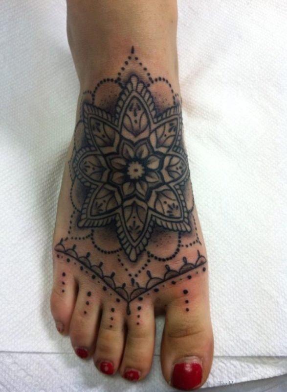 Fantastic Mandala Tattoo On Foot