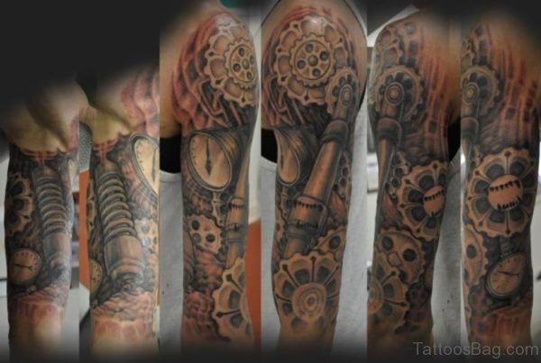Fantastic Mechanical Tattoo On Full Sleeve