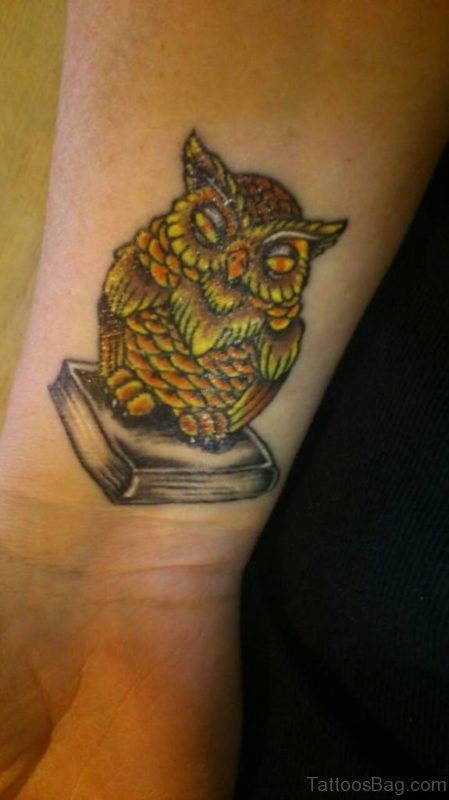 Fantastic Owl Tattoo Design On Wrist