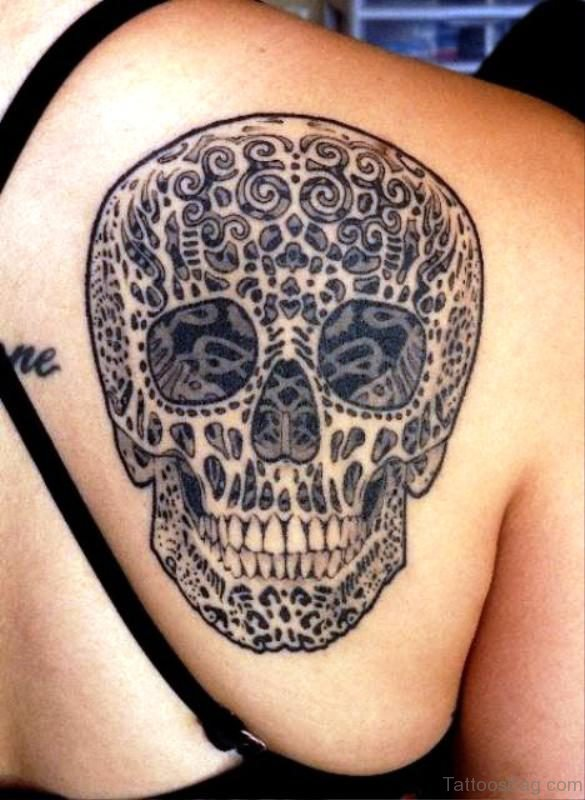 Fantastic Skull Tattoo On Back Shoulder