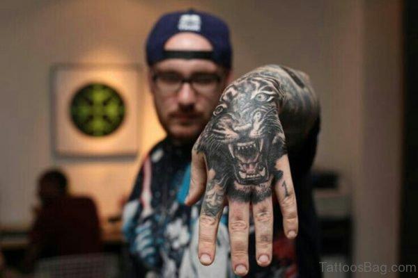 Fantastic Tiger Tattoo On Hand