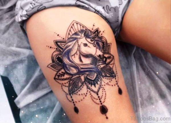 Fantastic Unicorn Tattoo On Thigh