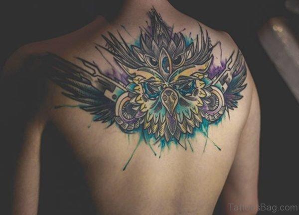Fantastic Watercolor Tattoo On Upper back