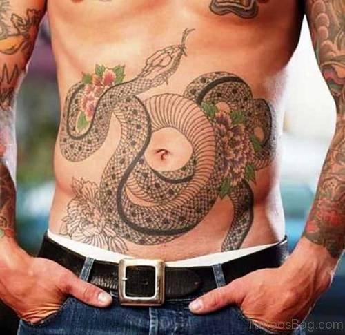 FantasticSnake Tattoo On Stomach