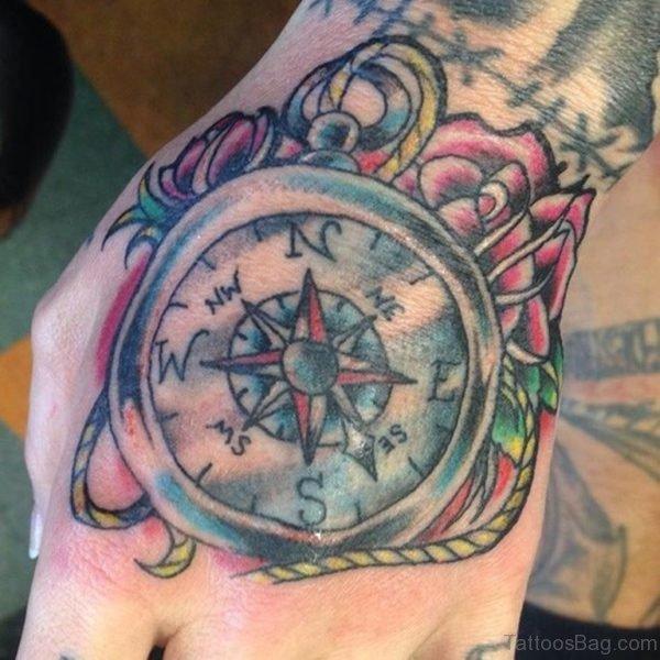Fantatsic Compass Tattoo On Hand