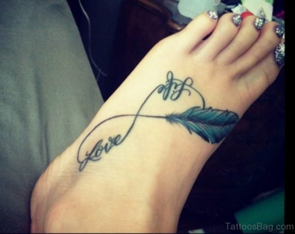 Feather And Love Life Infinity Tattoo On Foot