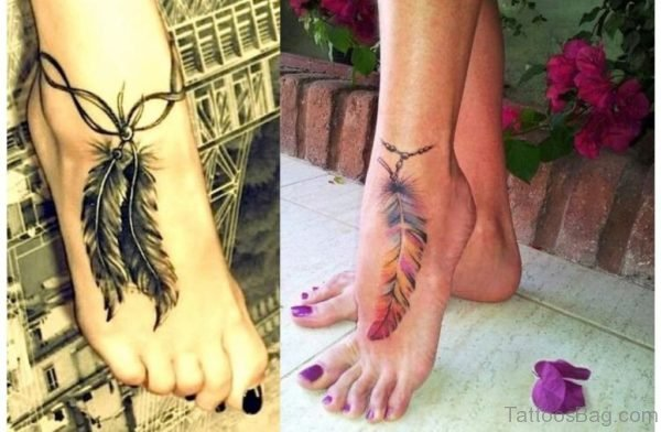 Feather Tattoo Design On Foot