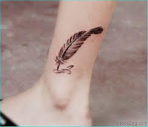 Feather Tattoo Design On Leg