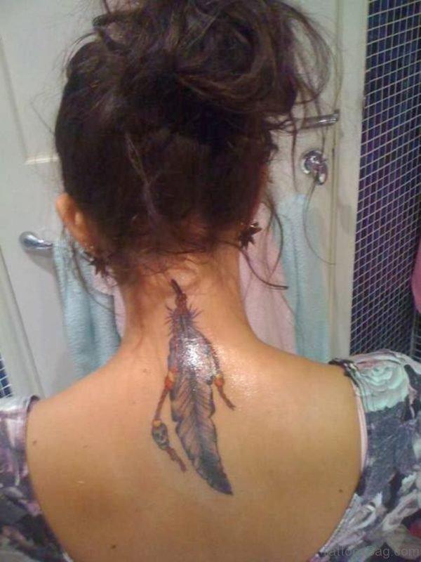 Feather Tattoo Design On Nape