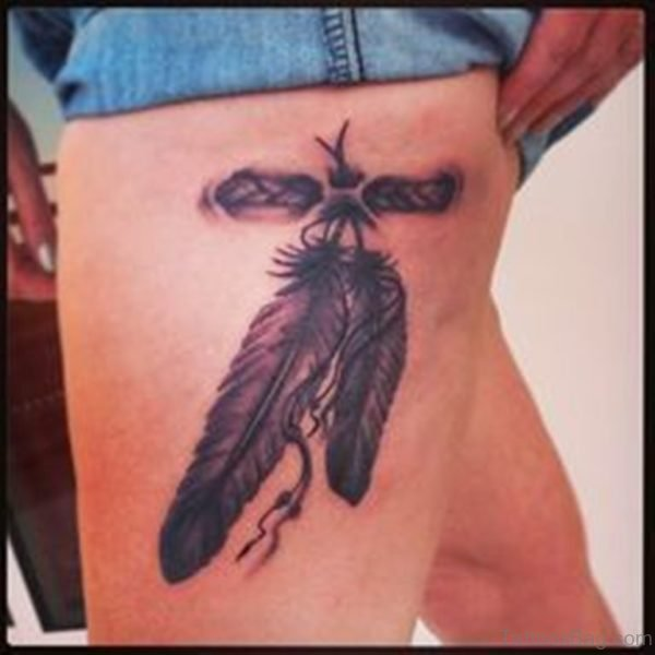 Feather Tattoo Design On Thigh