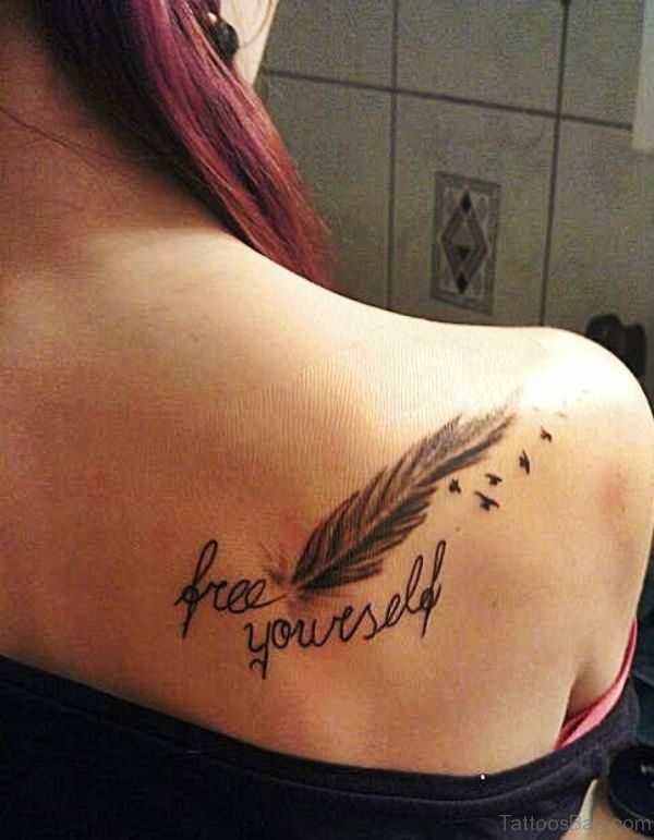 Feather Tattoo On Back Shoulder 1