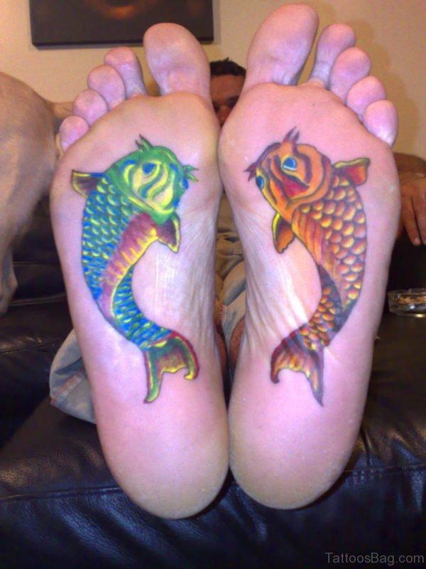 Fiish Tattoo On Under Foot