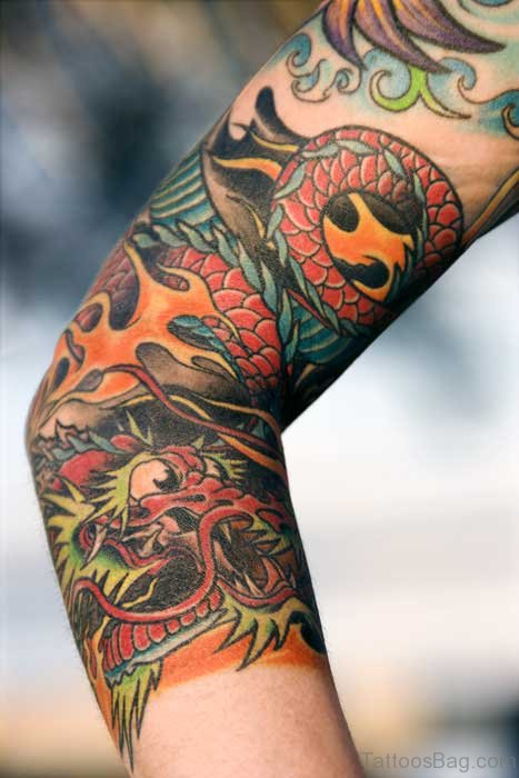 Fine Dragon Art Tattoo On Arm