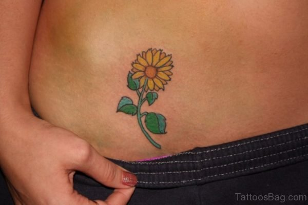 Fine Sunflower Tattoo On Waist