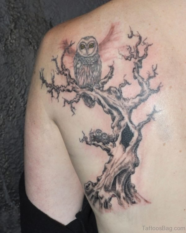 Fine Tree Tattoo On Back