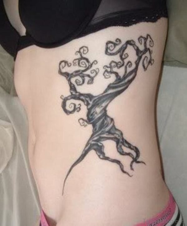 Fine Tree Tattoo On Rib