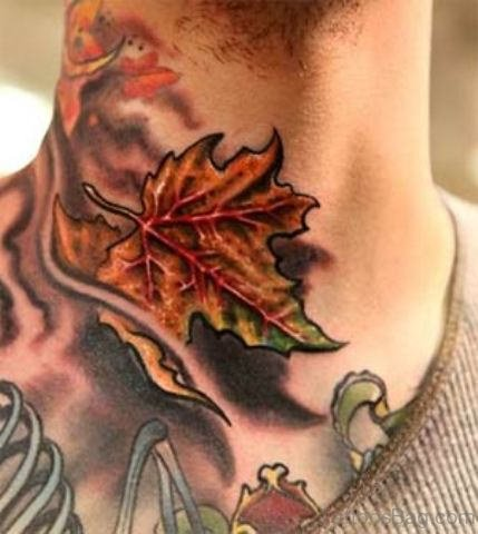Fire and Flame With Maple Leaf Tattoo On Neck