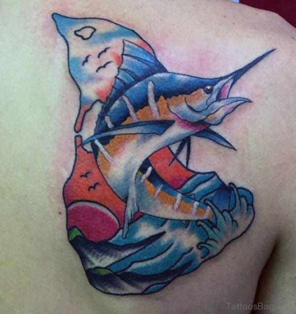 Fish Tattoo On Back Shoulder