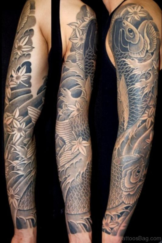 Fish Tattoo On Full Sleeve
