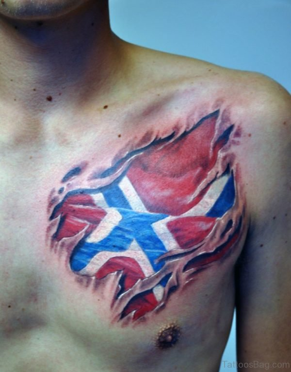 Flag Tattoo On Chest