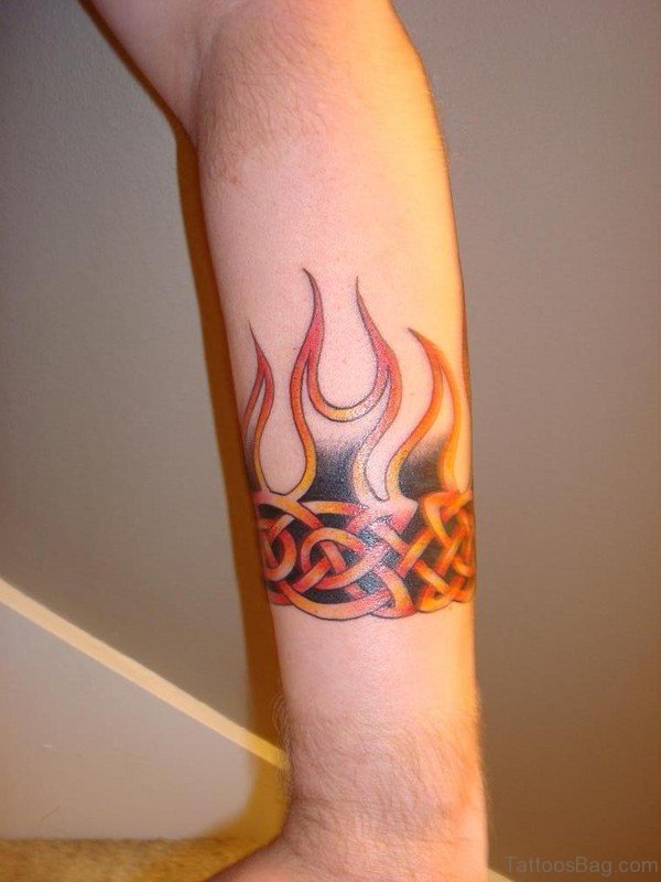 Flame Band Tattoo On Arm