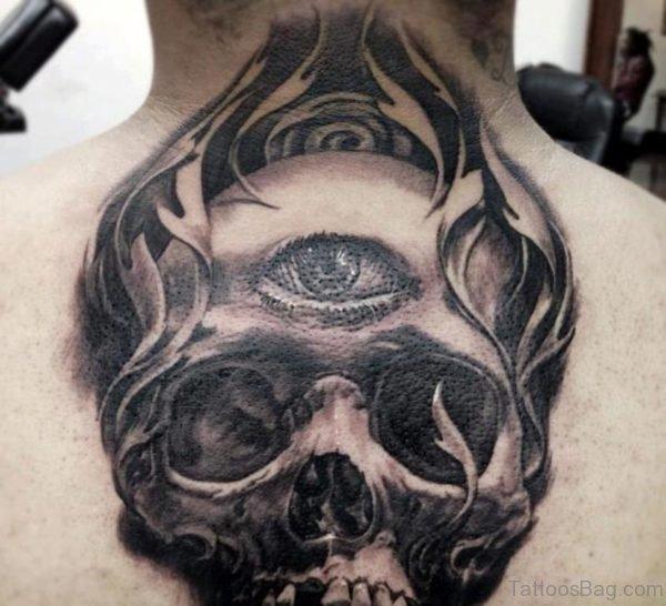 Flaming 3D Skull Tattoo On Upperback
