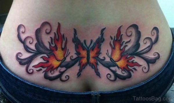 Flaming Butterfly Tattoo