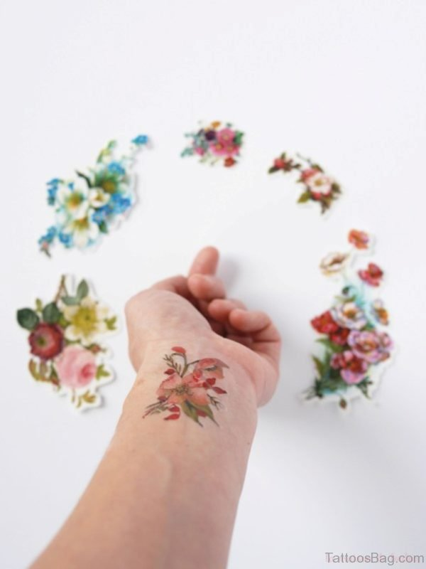 Floral Flower Tattoo On Wrist