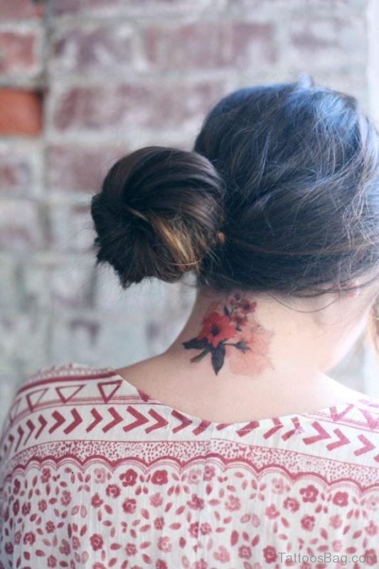 Floral Tattoo On Nape