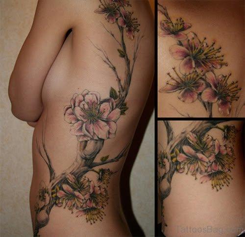 Floral Tattoo On Rib