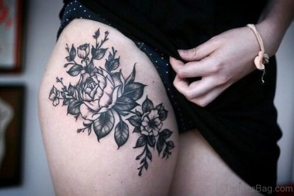 Floral Tattoo On Thigh