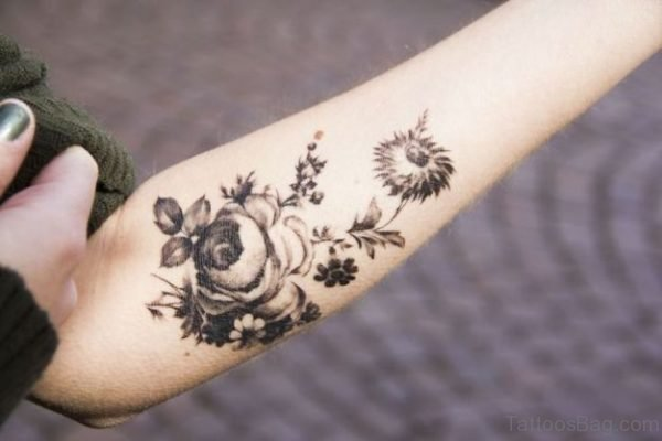 Floral Tattoo On Elbow