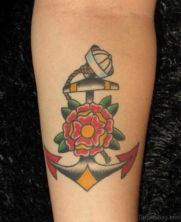Flower And Anchor Tattoo