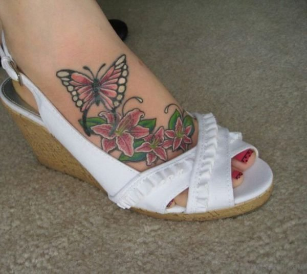 Flower And Butterfly Tattoo 1