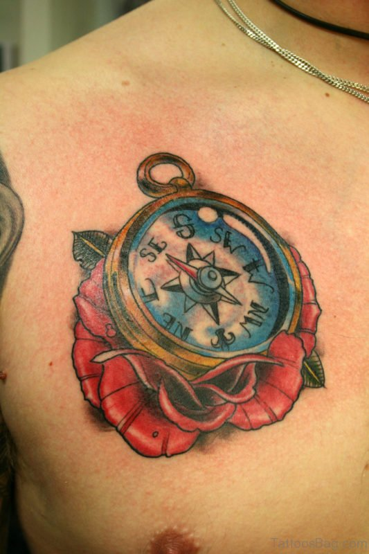 Flower And Compass Tattoo On Chest