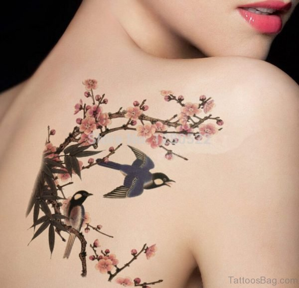 Flower And Swallow Tattoo On Back