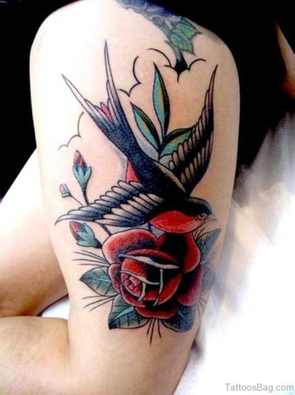 Flower And Swallow Tattoo On Thigh