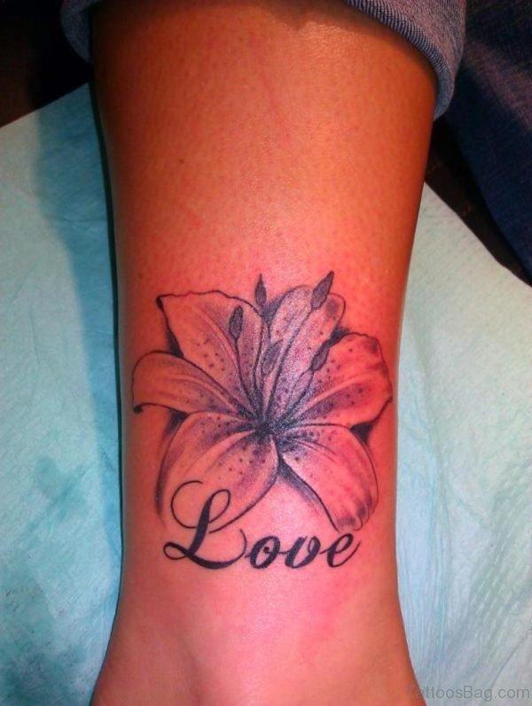 Flower Love Ankle Tattoo