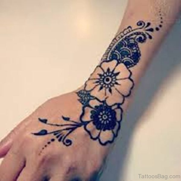 Flower Side Hand Tattoo