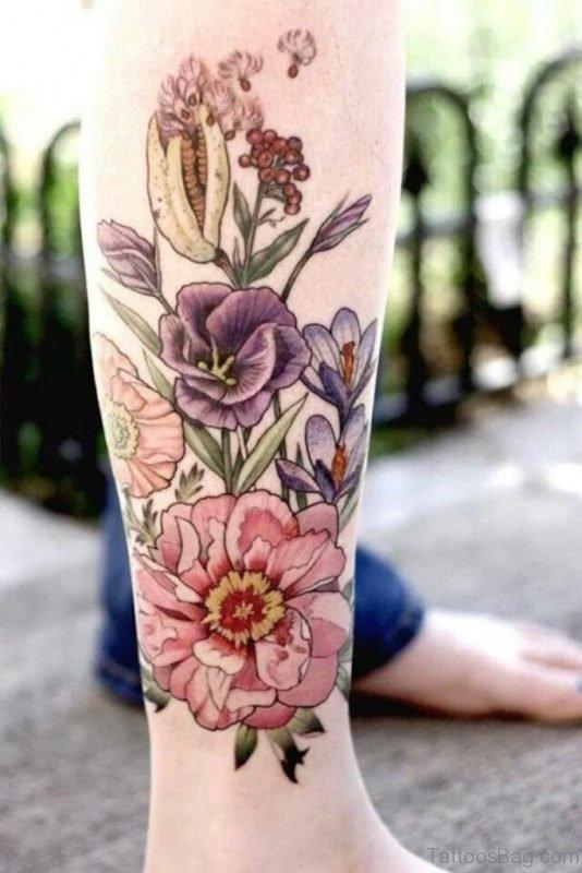 Flower Tattoo Design On Leg