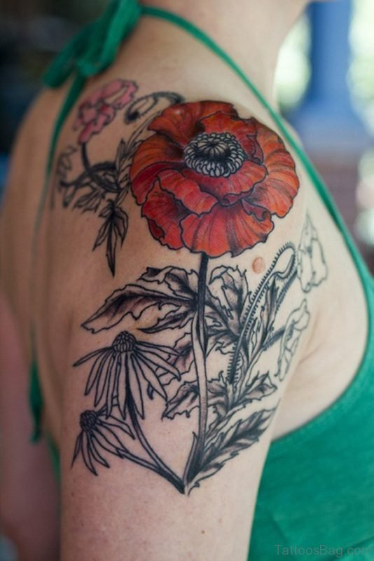 Flower Tattoo Design On Shoulder