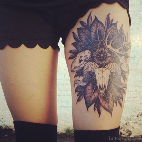 Flower Tattoo Design On Thigh